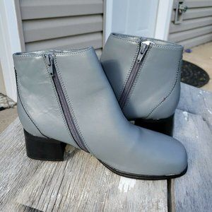 Gray Leather zip Ankle Boots